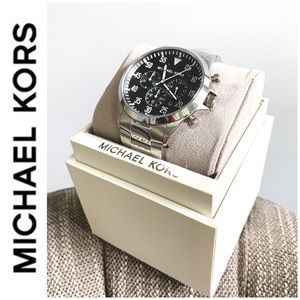 NWT authentic MK stunning Gage watch silver black